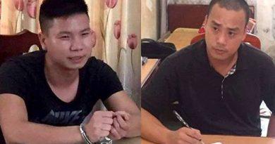 Thái bị cơ quan công an bắt giữ ngay sau khi gây án và Cường(bên trái)