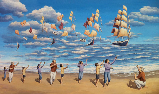 Thả diều hay thả thuyền vậy !!!