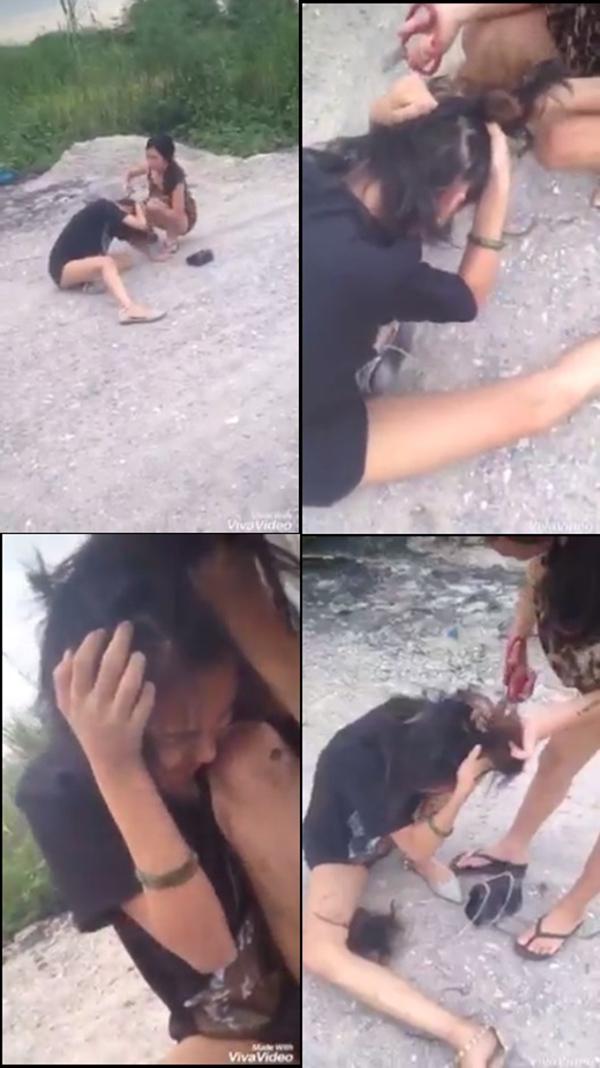 Cô gái bị vợ đánh, cắt tóc dã man