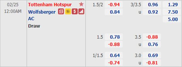 Kèo bóng đá giữa Tottenham vs Wolfsberger