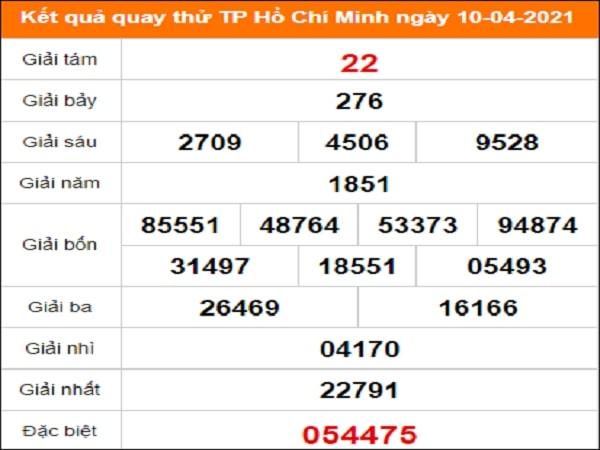 Quay thử kết quả xổ số tỉnh Hồ Chí Minh 10/4/2021